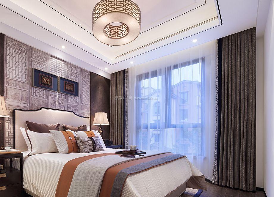 现代新中式风格卧室窗帘装修效果图片