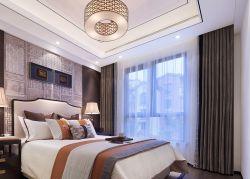 现代新中式风格卧室窗帘装修效果图片图片
