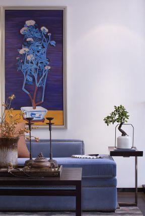 现代新中式风格室内白色墙面装修效果图片