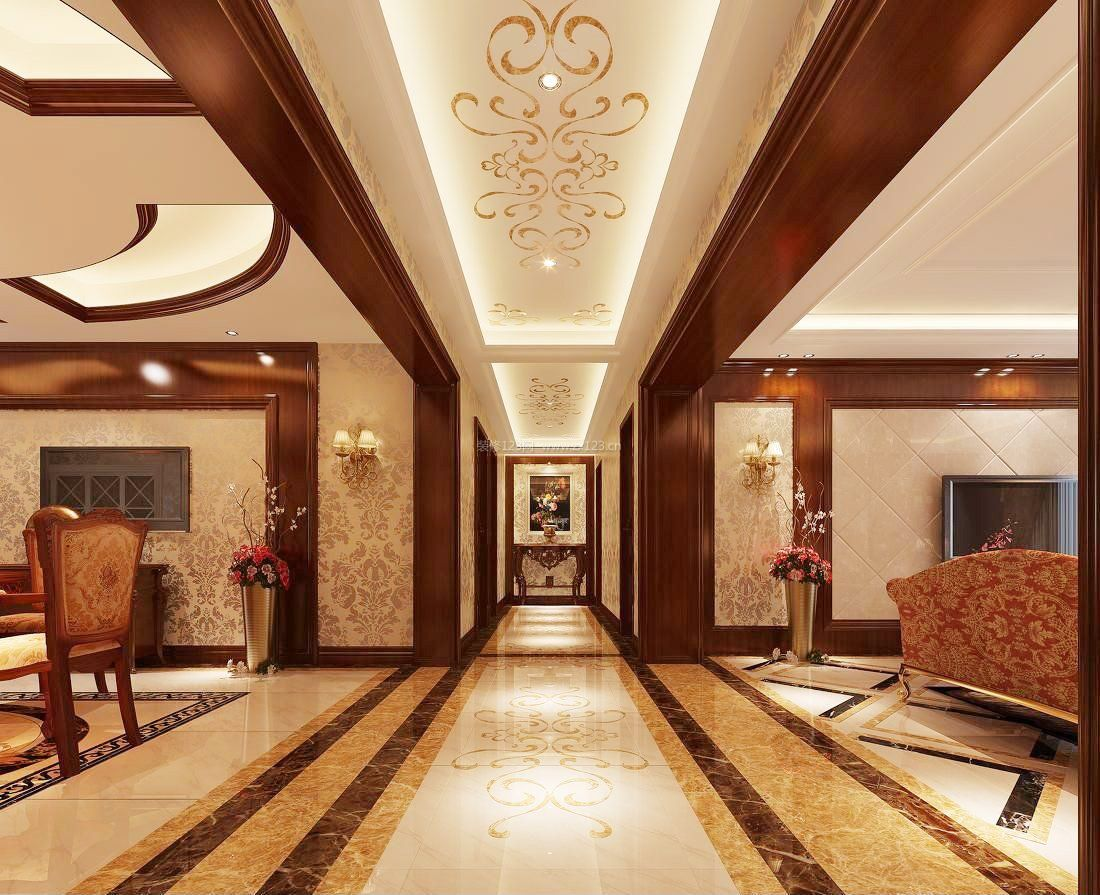 欧式风格家装走廊地板砖铺设效果图图片