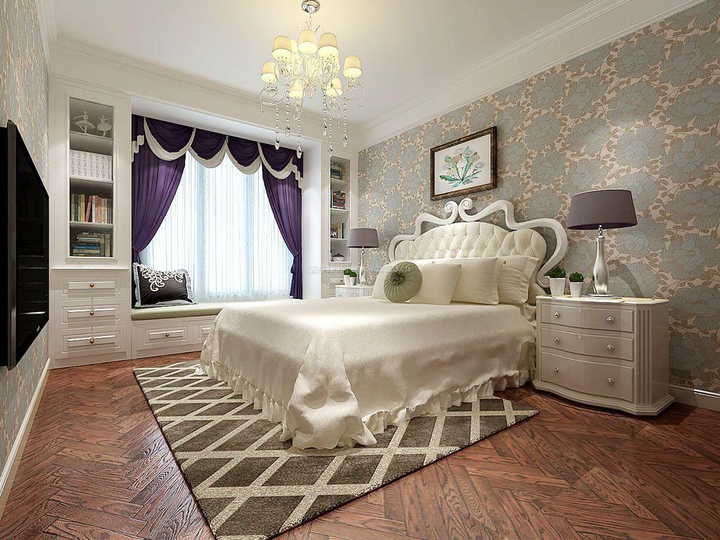 简单卧室床头欧式壁纸背景墙图