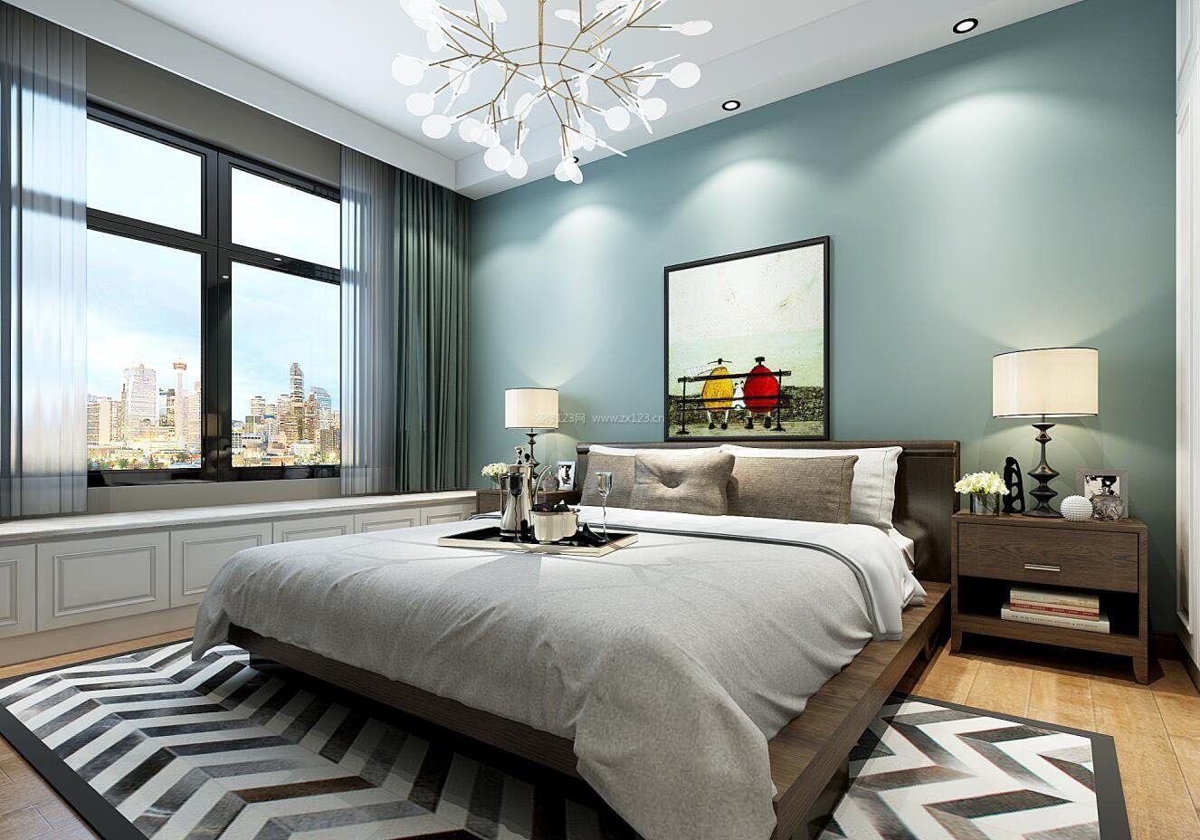 简欧风格家装简单卧室床头背景墙效果图图片