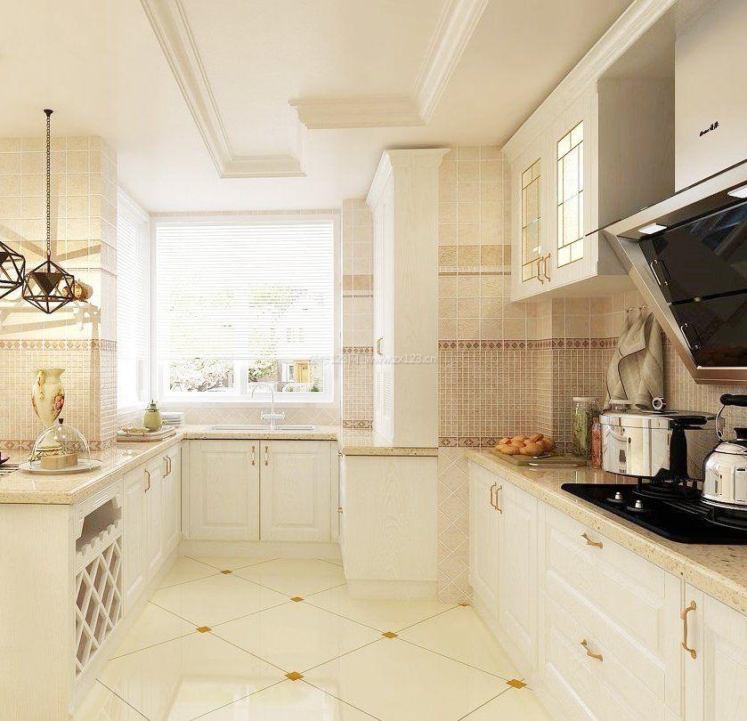 现代厨房设计地板砖铺设效果图