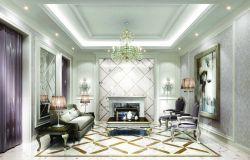 别墅室内黑白地板砖铺设效果图图片