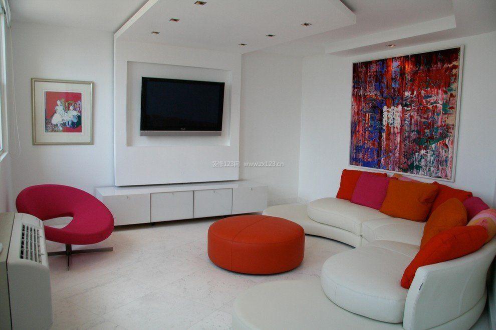 2017简约现代小客厅影视墙装修效果图大全