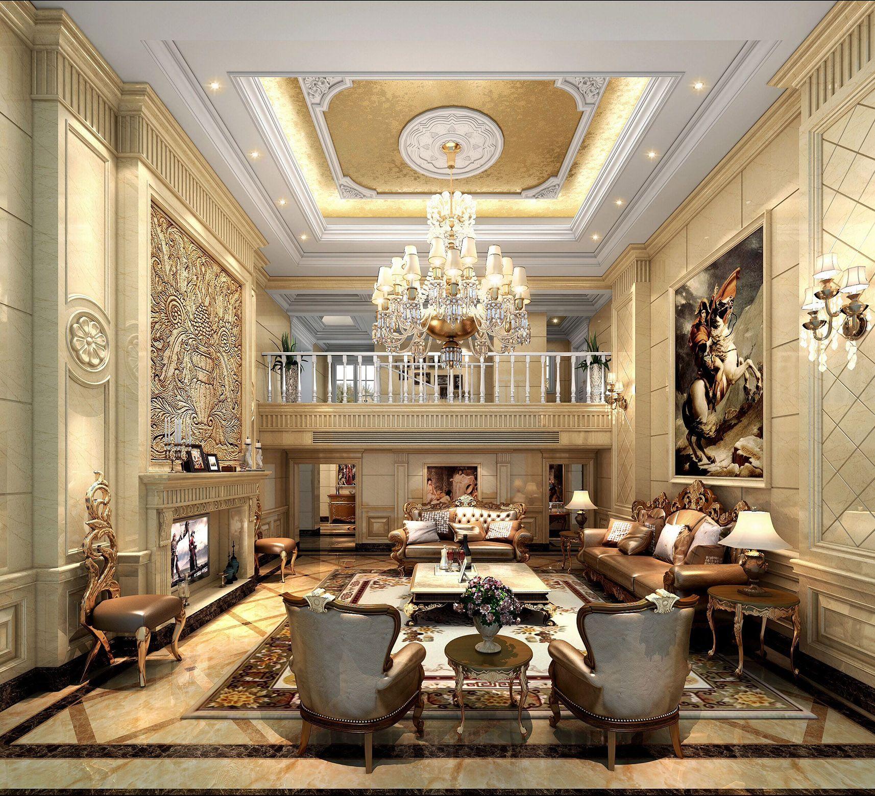 2017古典欧式豪华别墅客厅壁炉电视墙设计装修效果图图片