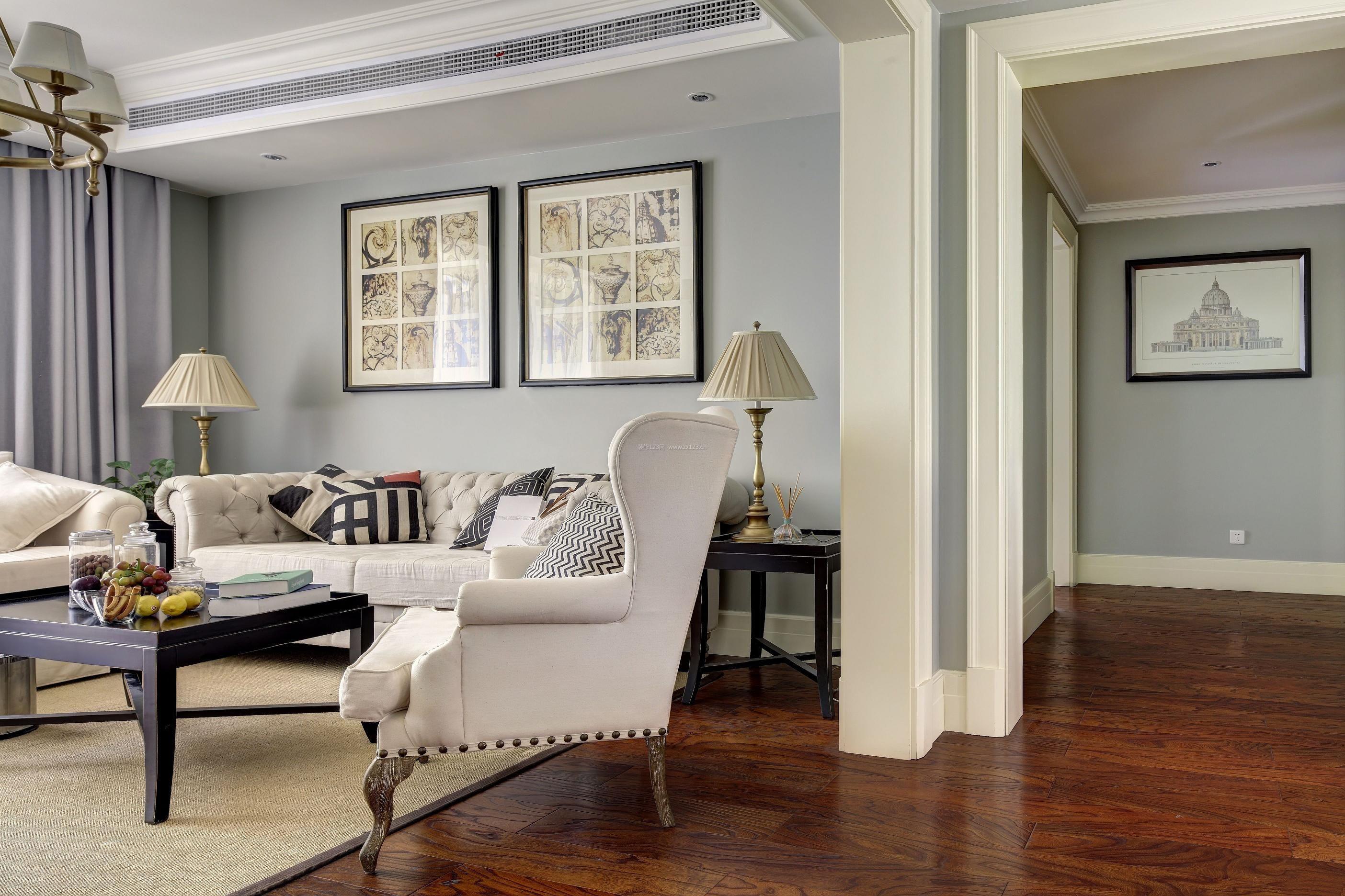 2017最新美式客厅木地板装修效果图片