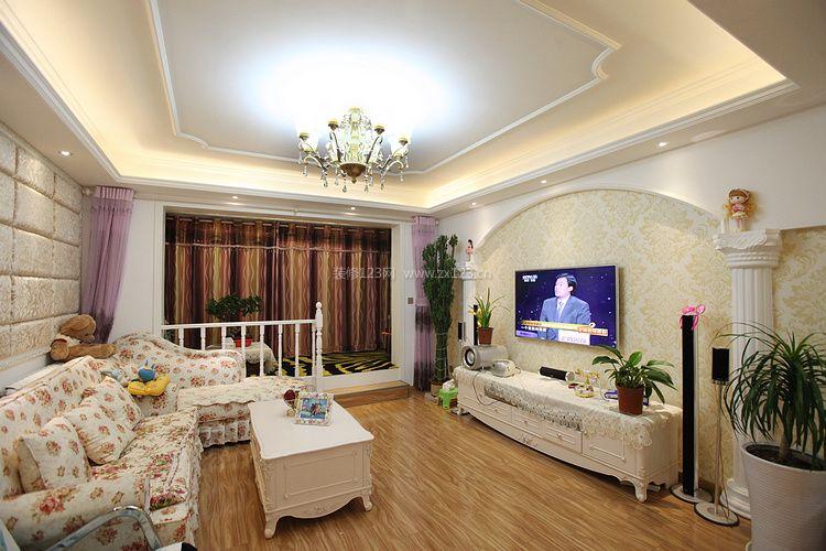 2017简欧风格客厅电视背景墙装修图片_装修123效果图