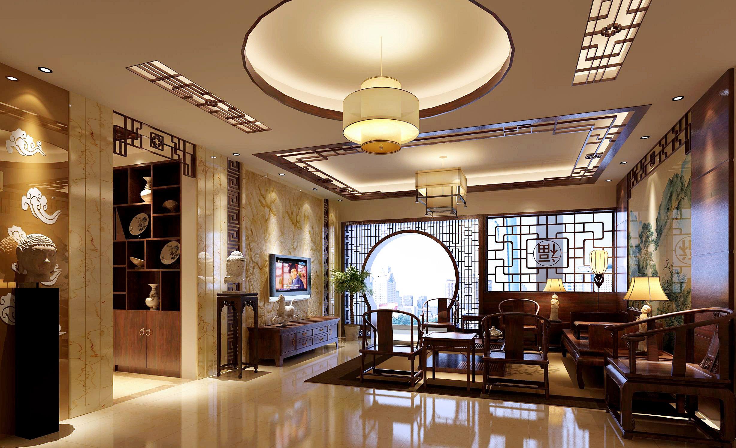 新中式客厅装饰门洞装修效果图片
