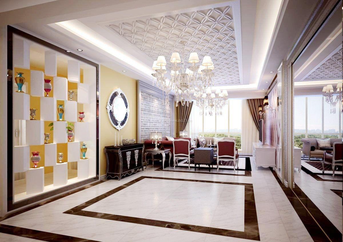 2017现代简欧客厅室内瓷砖图片_装修123效果图
