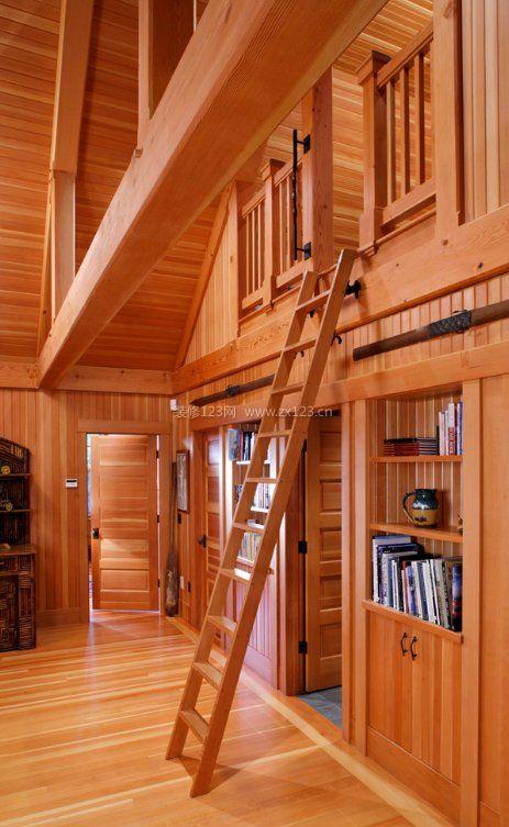 小户型空间阁楼楼梯实木装修设计效果图片