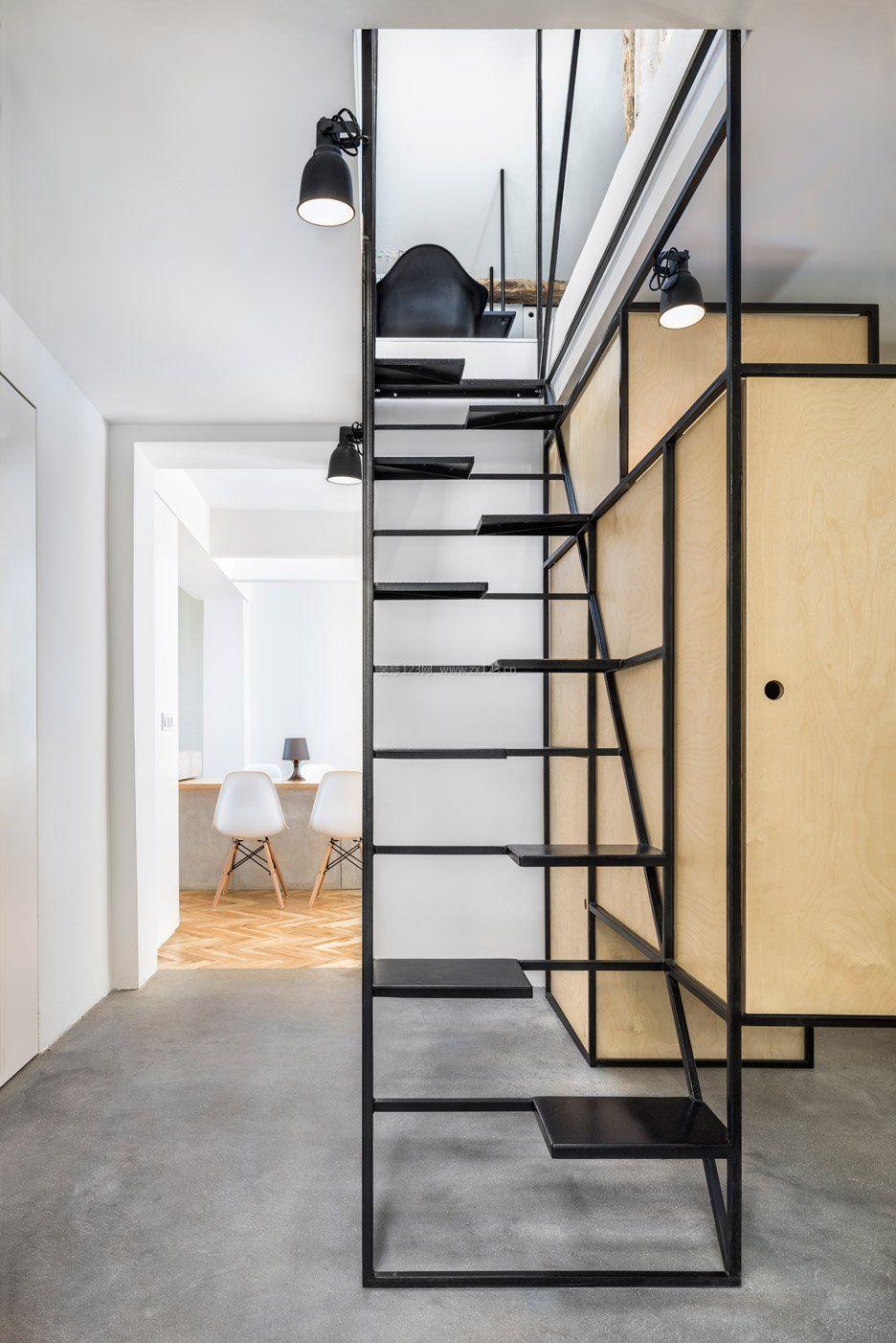 现代简约风格小空间阁楼楼梯设计装饰效果图_装修123