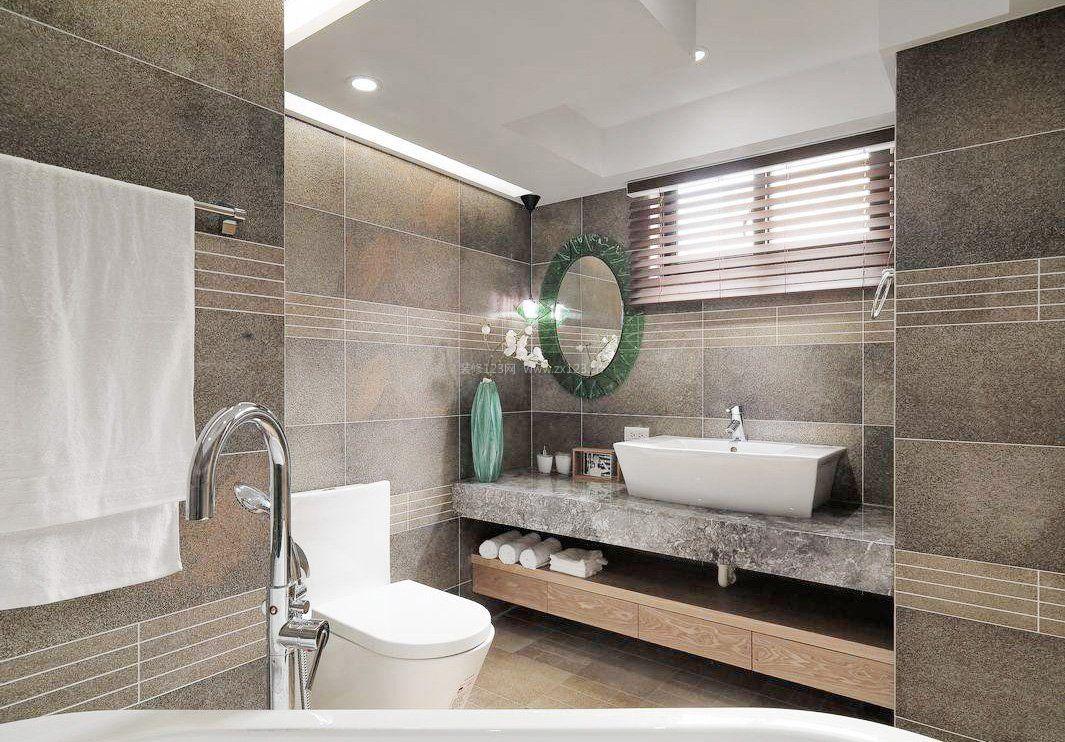 诺贝尔卫生间灰色瓷砖图片_装修123效果图