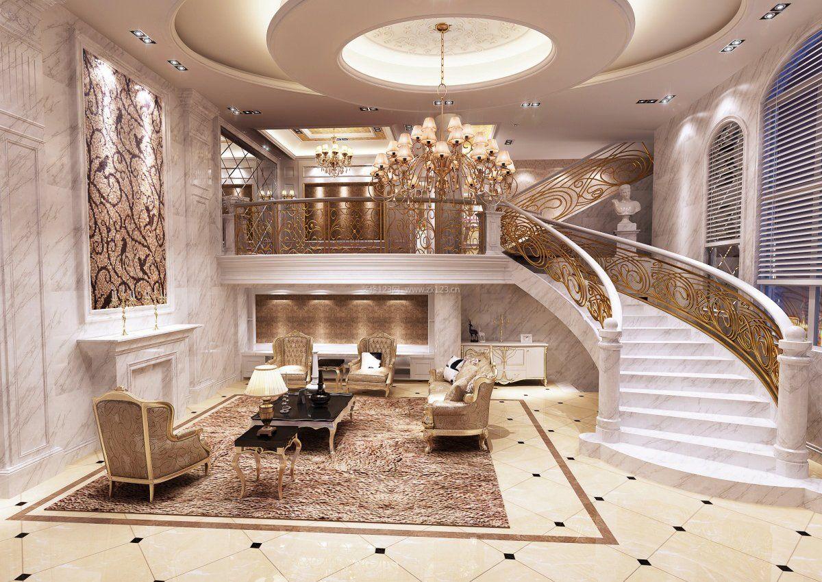 豪华别墅内部楼梯造型装修图