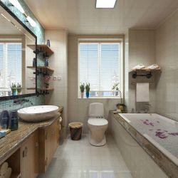 现代家居卫生间带浴缸装修效果图