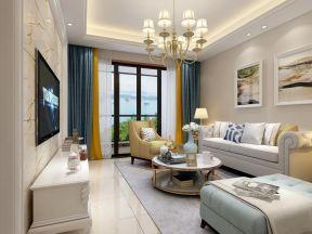 现代美式客厅装修效果图 2017客厅落地窗窗帘图片欣赏