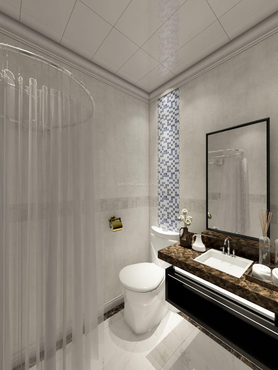 2017主卧室卫生间圆形浴帘装修效果图片