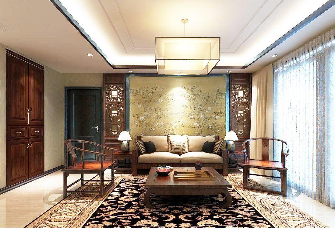 小户型中式客厅背景墙设计装修_装修123效果图