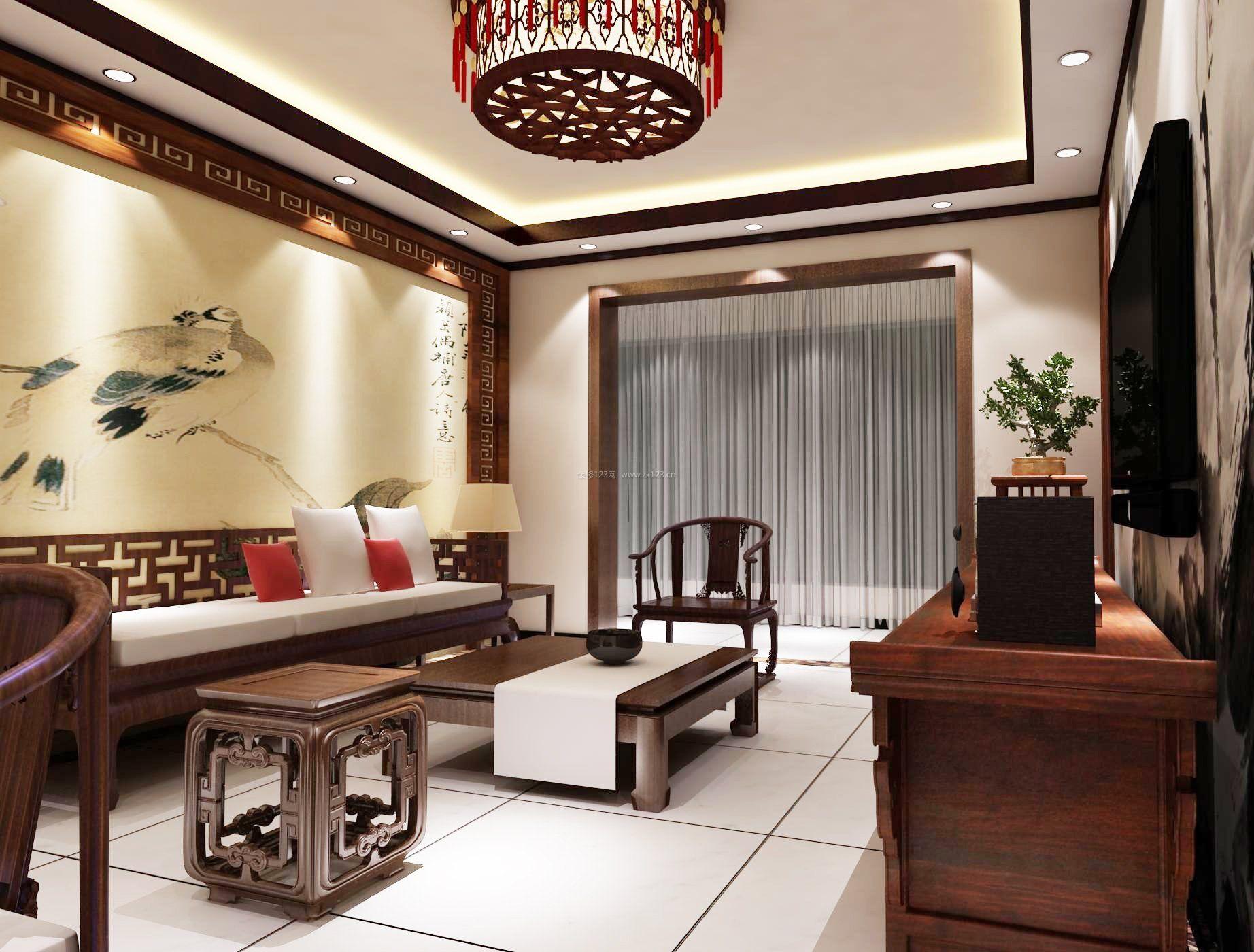 小户型中式客厅实木家具装修