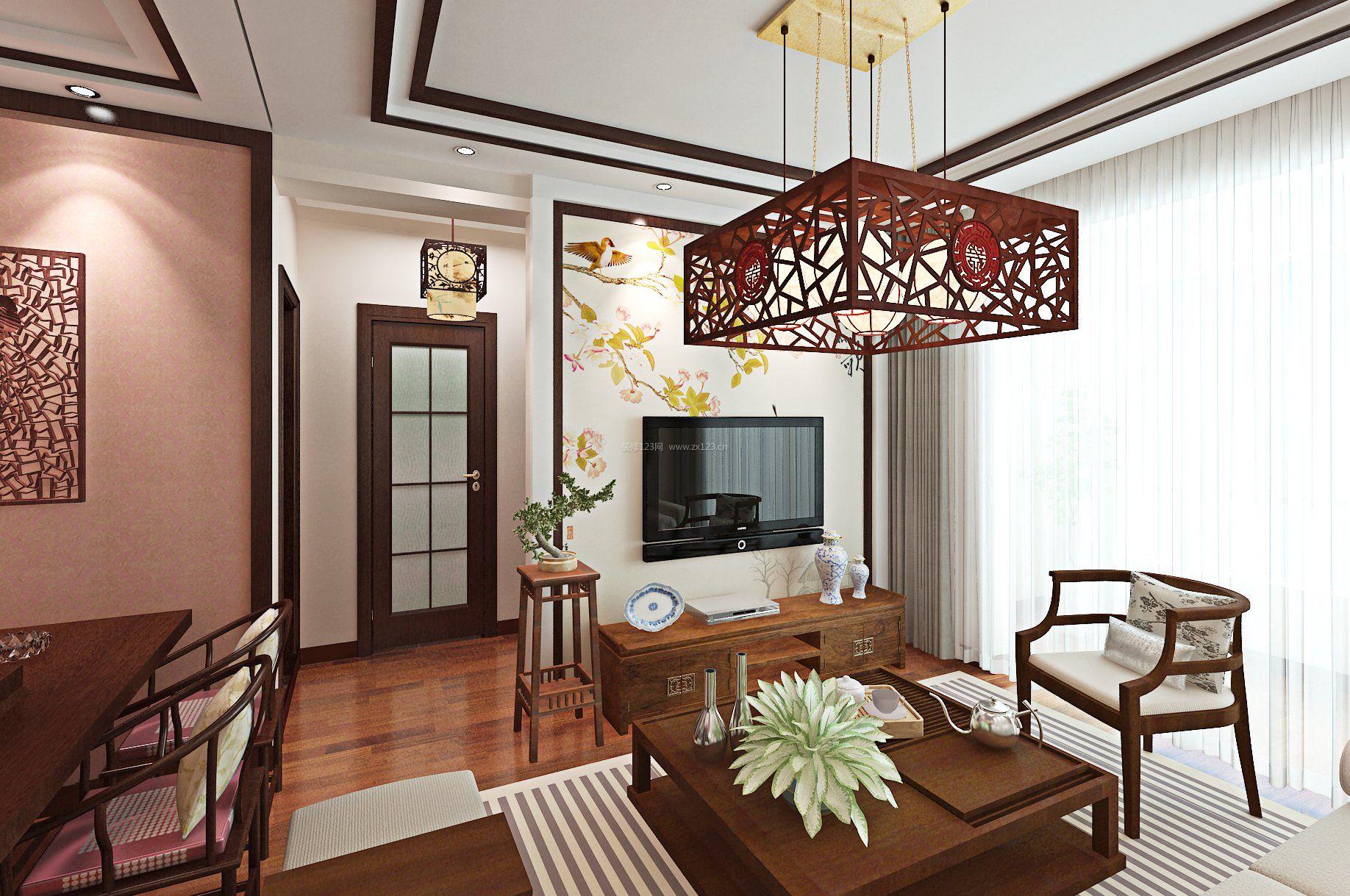 小户型中式客厅电视背景墙装修