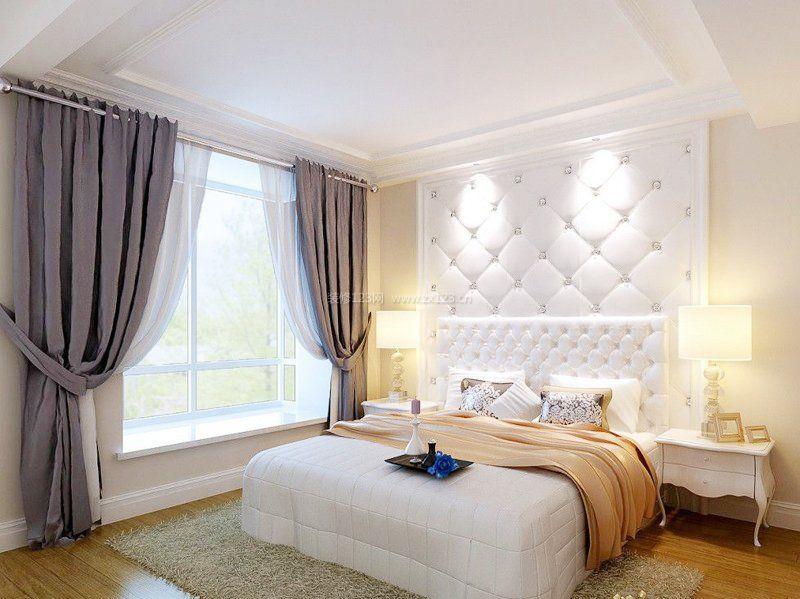 韩国家居卧室床头背景墙装修_装修123效果图图片