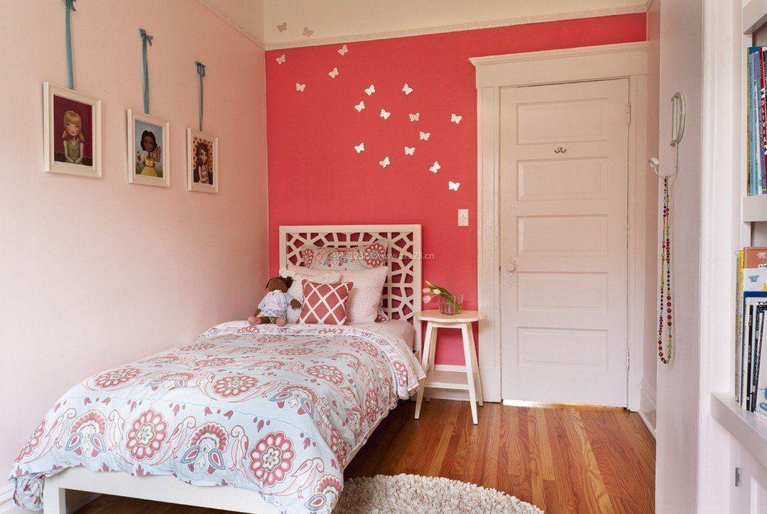 现代简约女儿童房床头背景墙装修效果图图片