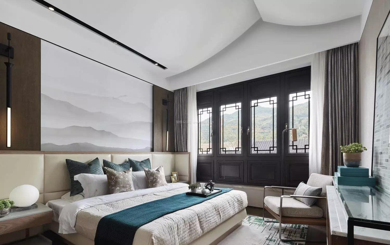 现代中式卧室简约床头背景墙效果图_装修123效果图图片