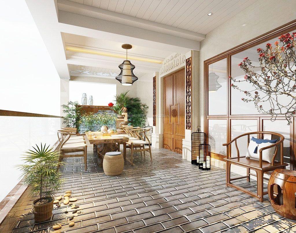 中式风格高层阳台花园装修效果图