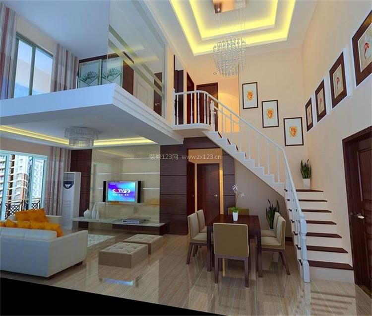 40平小复式楼梯背景墙装修设计效果图