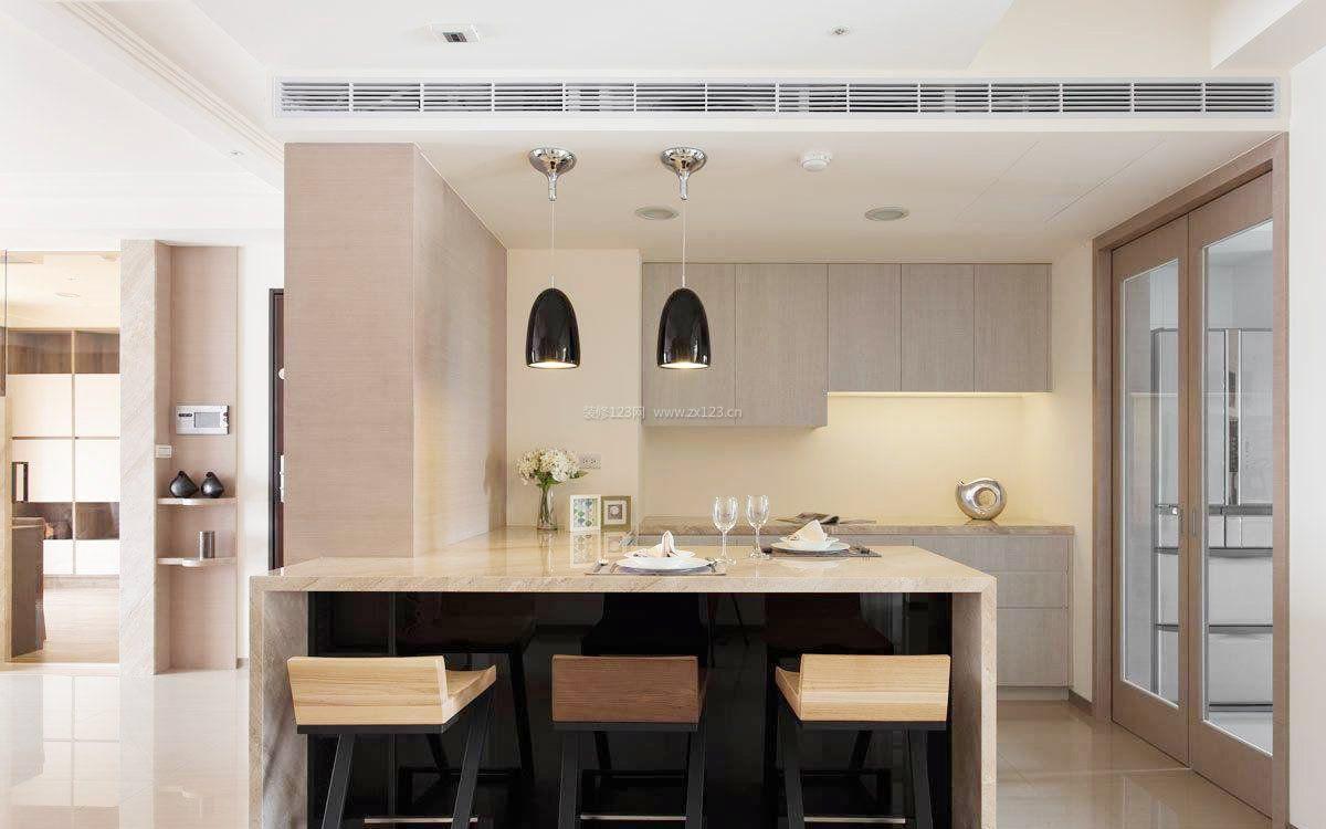 现代厨房餐厅吧台小户型设计_装修123效果图