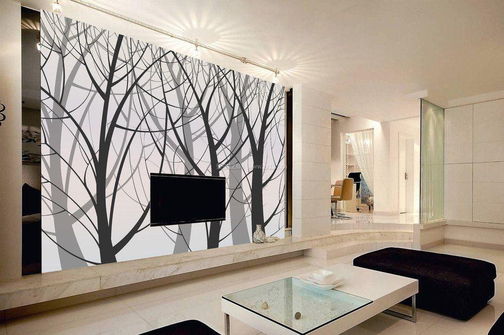 长方形客厅黑白电视背景墙装修效果图片
