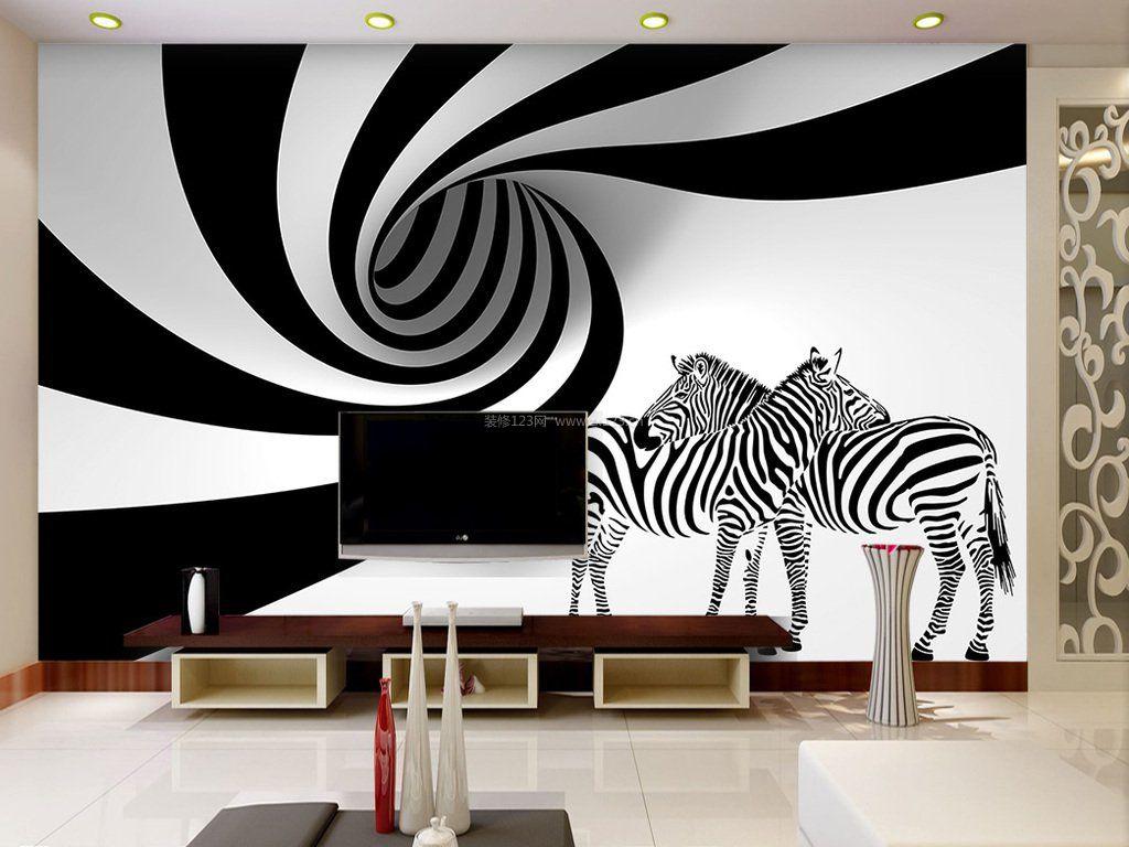 黑白电视背景墙壁纸效果图片