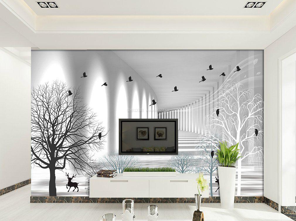 黑白电视背景墙壁纸装修图片
