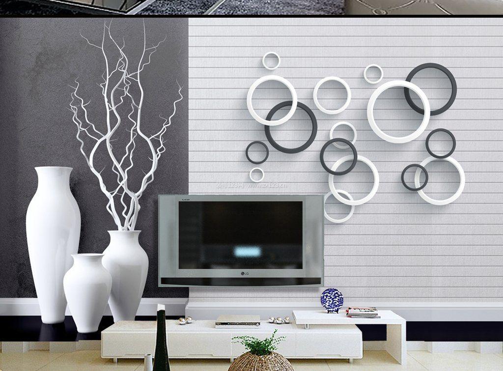 黑白电视背景墙造型图片
