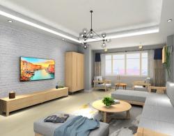 现代北欧图片墙砖背景客厅背景墙装修效果图3d电视墙免费风格下图片