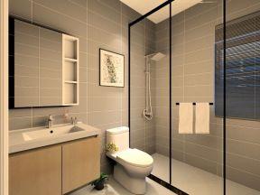 现代北欧风格家装效果图 浴室玻璃隔断效果图图片
