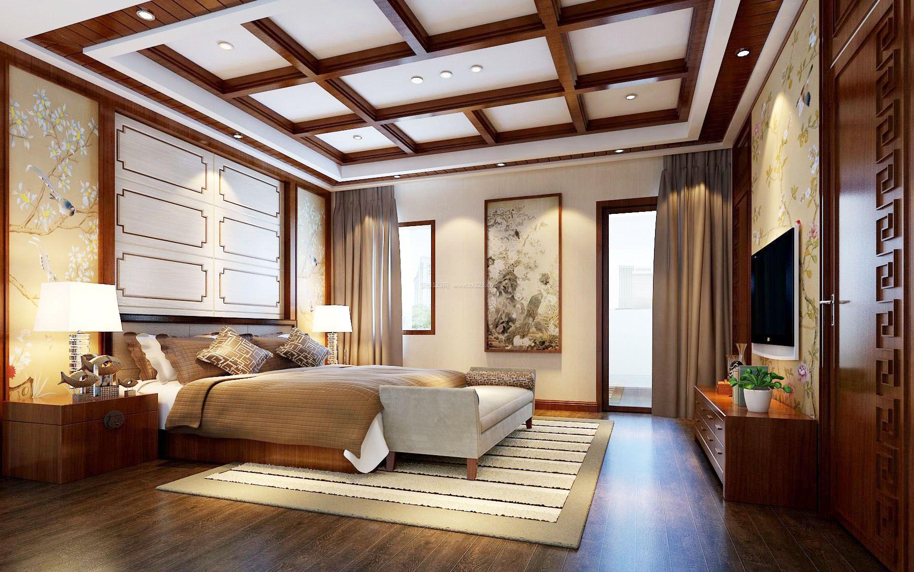 2017新中式主卧室床头背景墙效果图片图片