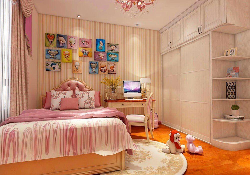 主臥室床頭背景墻條紋壁紙裝修效果圖