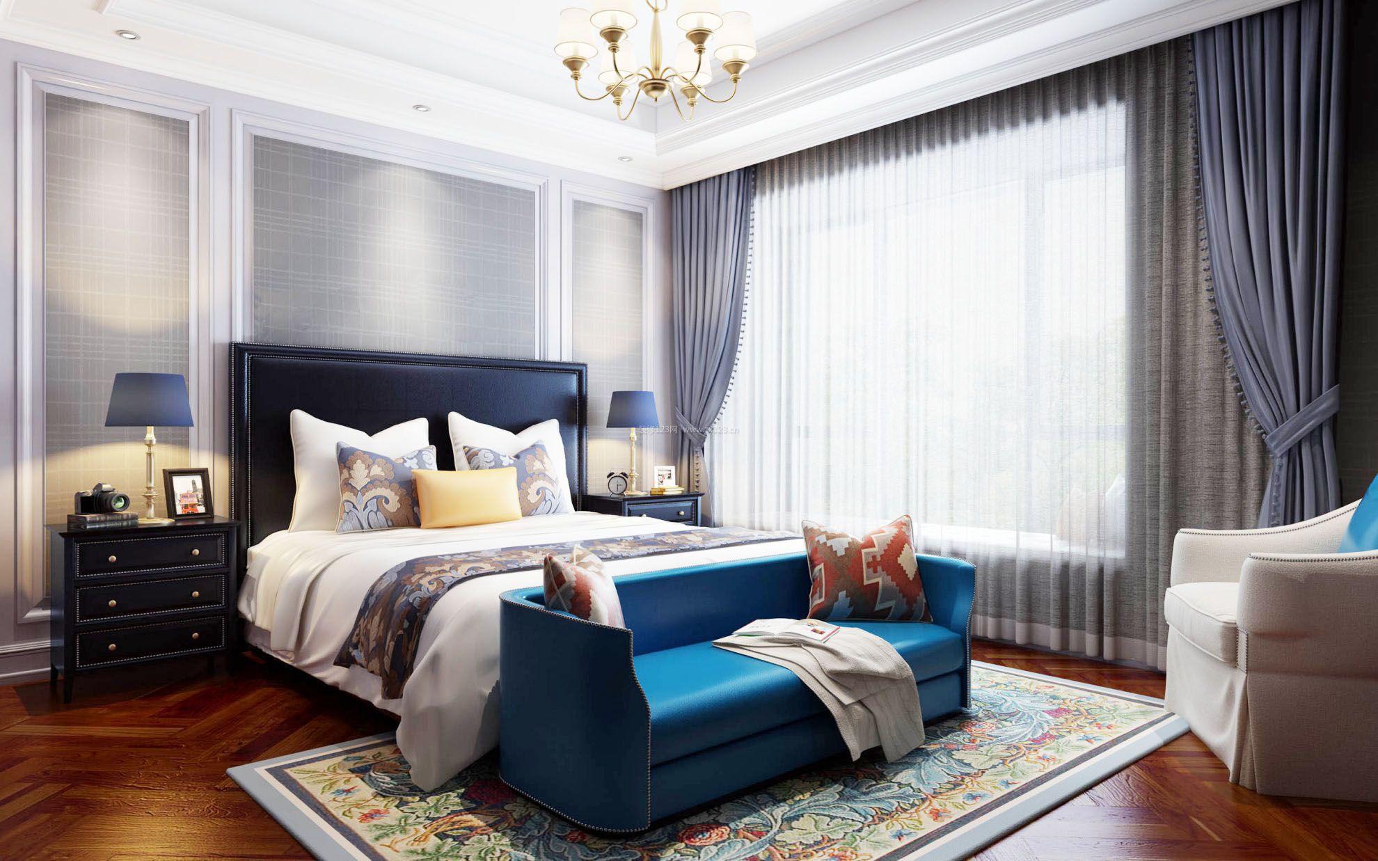 主臥室床頭背景墻純色壁紙裝修效果圖片