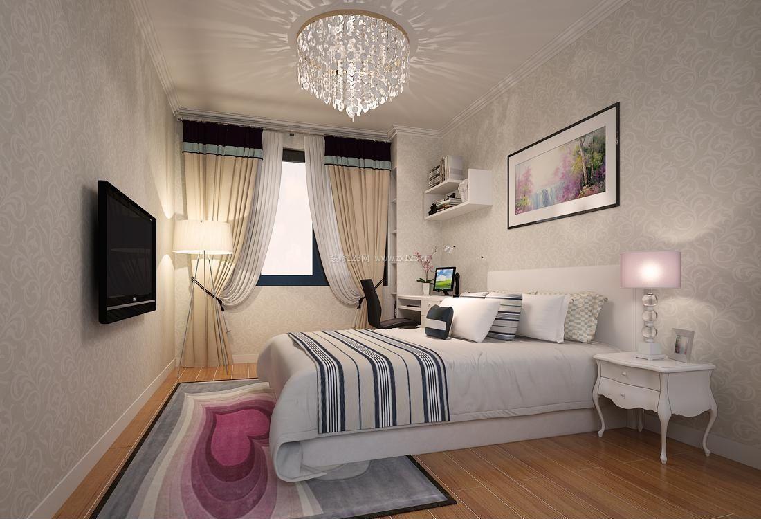 主卧室床头背景墙欧式壁纸花纹效果图片2017
