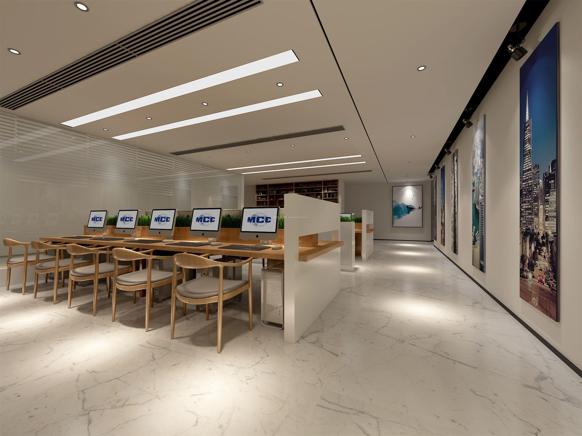 简约中式风格办公室办公区装修效果图