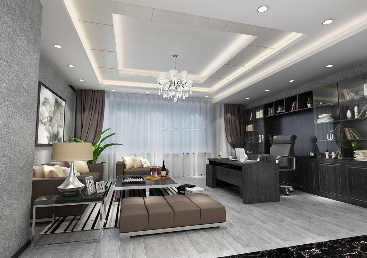 2017简约家庭办公室石膏板吊顶装修设计效果图片