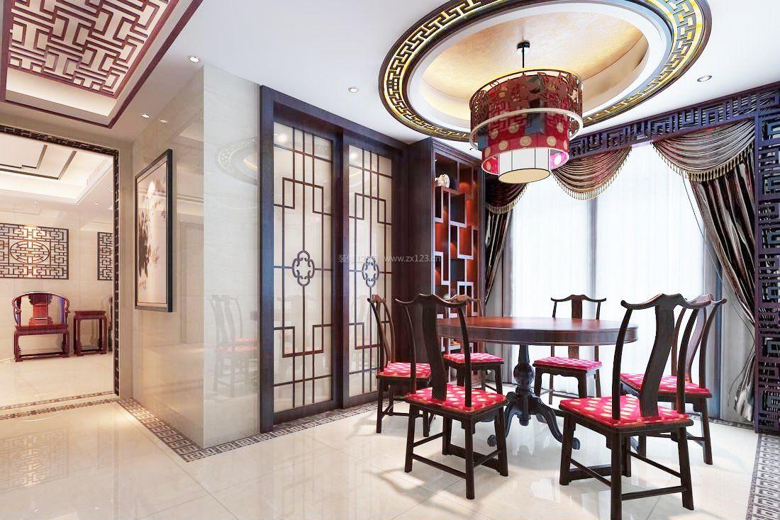家庭餐厅中式圆形吊顶装修图片