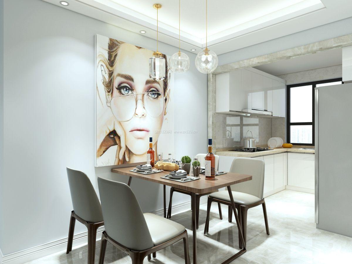 2017现代简约风格开放式厨房餐厅装修效果图片图片