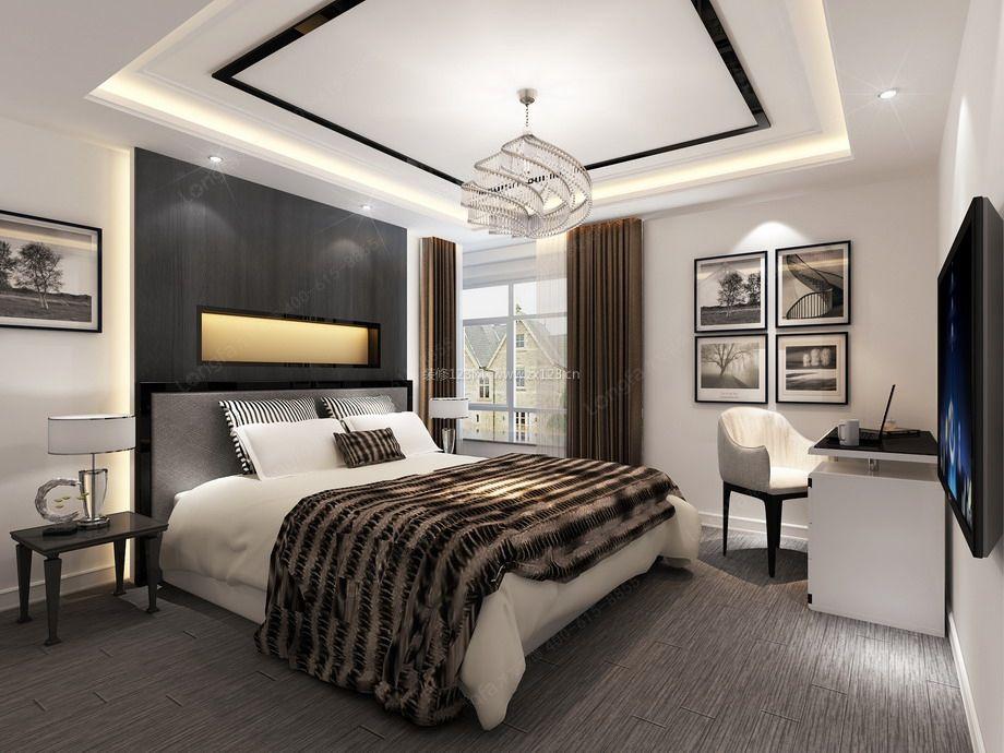 现代时尚卧室灰色木地板装修效果图
