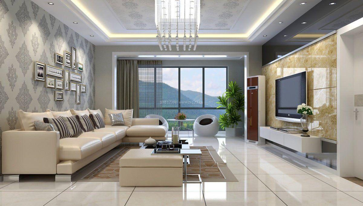 房子电视墙镜面瓷砖装修效果图片