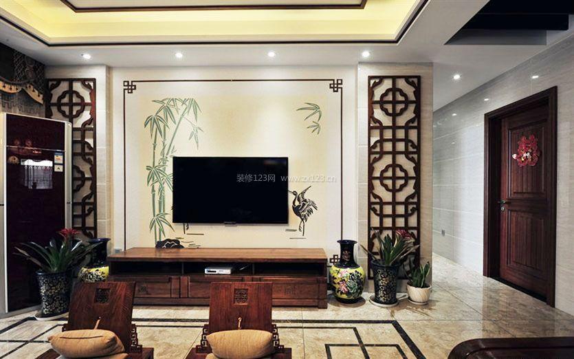 房子中式仿古电视墙装修效果图
