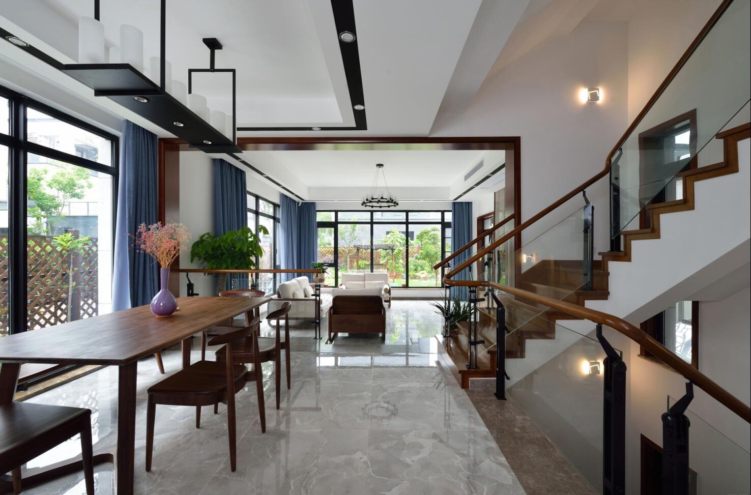 2017现代新中式别墅客餐厅装修效果图图片