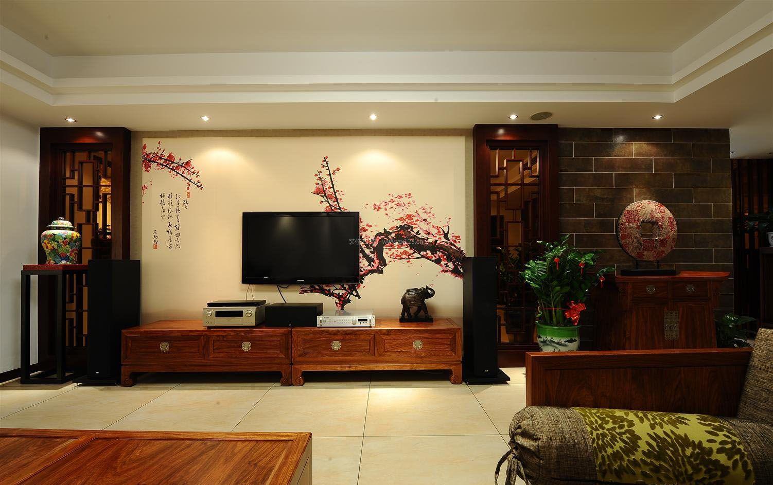 房子电视墙中式壁纸装修