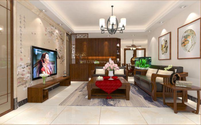 2017新中式客厅电视墙墙纸装修设计效果图大全图片